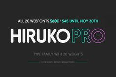 Check out Hiruko Pro Font Family (20 Fonts) by hypefortype on Creative Market