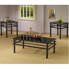 3pc Coffee Table Set with Black Glass Top in Black Metal Base