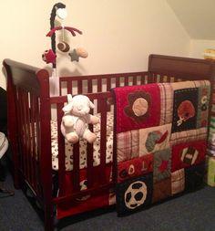 Jared's baseball sports nursery. Daddy loved the my little mvp bedding set <3