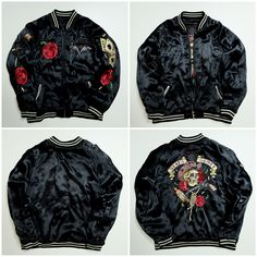[SPECIAL DISCOUNT] Sick Dope Slay Sexy Black Japanese Japan Punk Rock Rockabilly Lucky Gun Death Glory RIP Skull Skeleton Roses Punk Rock Aces Playing Cards Tattoo Art Embroidery Embroidered Bomber Sukajan Souvenir Jacket (SIZE: L ) - Japan Lover Me Store