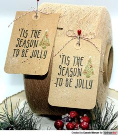 Christmas tags by Connie Mercer using Darkroom Door To Be Jolly Small Stamp Christmas Tag, Great Friends, Tis The Season, Greeting Cards Handmade, Hand Stamped, Reusable Tote Bags, Seasons, Create, Birthday