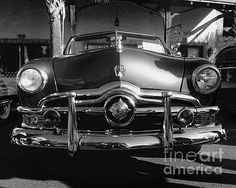 #ClassicCars - #1950 #Ford Custom - front end #chrome #grille #bumper #headlights #hood #fenders - #BlackAndWhite #Photography #WallArt by #JasonFreedman