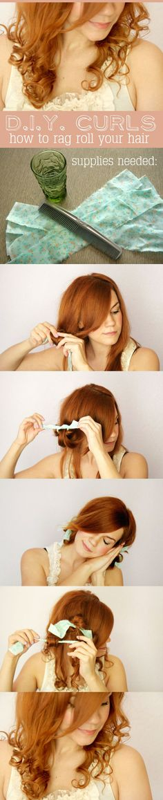 DIY CURLS - How To Rag Roll Your Hair