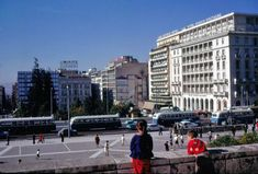Syntagma in We can see the impressive building of Grande Bretagne hotel on the right side Attica Athens, Athens City, Athens Greece, Greece Pictures, Old Pictures, Vintage Photos, Portal, The Neighbourhood, Street View