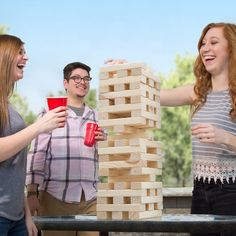 Nontraditional Giant Wooden Blocks Tower Stacking Game, Outdoor Yard Game, For Adults, Kids, Boys and Girls by Hey! Outdoor Yard Games, Outdoor Play, Outdoor Activities, Backyard Games, Summer Activities, Large Jenga, Giant Jenga, Family Game Night, Family Games
