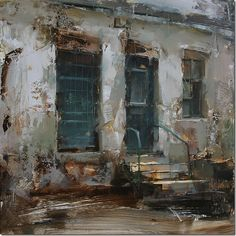 The Geen Door II, Oil on Wooden panel, x Tibor Nagy, from Slovakia Urban Landscape, Abstract Landscape, Landscape Paintings, Landscapes, Urban Painting, Painting Competition, Inspiration Art, Contemporary Paintings, Art Oil
