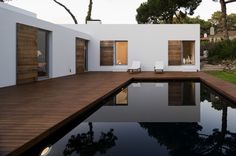 Fragments of architecture. Black pools get warmer during the day (smart)