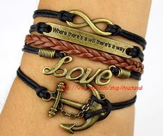 Anchor bracelet and infinite LOVE bracelet where by itouchsoul, $7.99