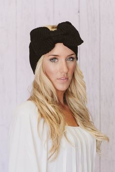 Knitted Bow Headband Oversized Bow Ear Warmer in by ThreeBirdNest, $38.00