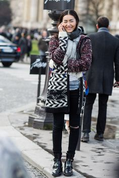 mixed print cozy layering. #LiuWen #offduty in Paris.