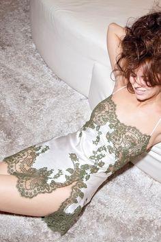 Marjolaine Jardin Ivory and Moss Green Short Silk Chemise