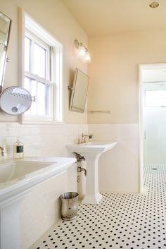 Subway Tile bathroom, Angled square mirror, cream walls... I really like this one...