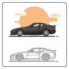porsche 944 turbo 951 Porsche 944, Super Cars, Vector Free, Prints, Collection