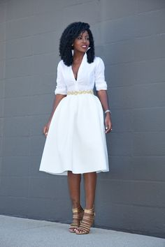 Button Down Shirt + White Box Pleat Midi