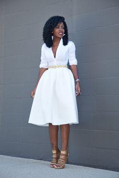 Button Down Shirt + White Box Pleat Midi