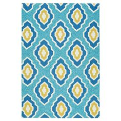 Kaleen Rugs Escape Diamond Indoor/Outdoor Area Rug Blue 2'x3'