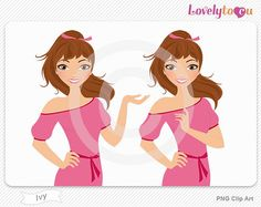 Woman portrait clip art, digital PNG clipart (Ivy B27)