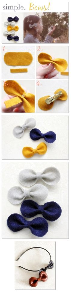 hair bows How to make hair bows seems like a challenging DIY project to take on. Hair bows make great hair accessories. Usually younger kids only tend to wear these bows. But growing girls a Making Hair Bows, Diy Hair Bows, Ribbon Hair, How To Make Hair, How To Make Bows, Baby Crafts, Felt Crafts, Diy Step By Step, Diy Accessoires