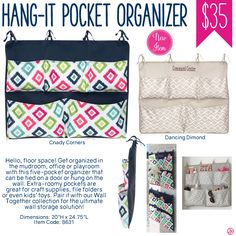 Thirty-One Hang-It Pocket Organizer - Spring/Summer 2017