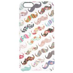 Funny Girly Colorful Patterns Mustaches Uncommon Clearly™ Deflector iPhone 6 Plus Case
