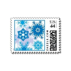 Blue Snowflake Designer Postage Stamps for the holiday season!