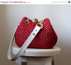 1960s Large Red Mod-style Woven Bag with White Leather Straps $40