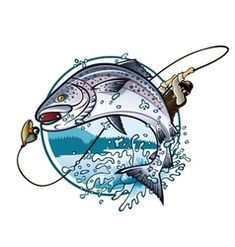 Illustration of Illustration of an fisherman is pulling fishing rod while salmon jumping to catch the bait on the lake vector art, clipart and stock vectors. Free Vector Images, Vector Art, Vector Stock, Clipart Images, Convert Image To Vector, Stylo 3d, Gravure Laser, Desenho Tattoo, Images Google