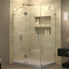 "DreamLine SHEN-1334340-04 QuatraLux 34 5/16"" by 34 5/16"" Frameless Shower Enclosure, Clear 3/8"" Glass, Nickel Finish"