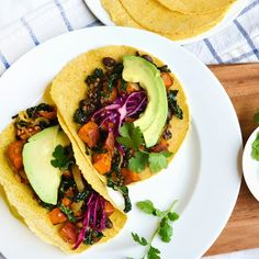 Superfoods kale and sweet potato come together in these nutrient-filled tacos!