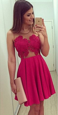 Cheap Red Lace Mini Homecoming Dress Simple Chiffon Plus Size Cocktail Dresses_Homecoming Dresses_Special Occasion Dresses_Wedding Dresses | Prom Dresses | Evening Formal Gowns | Suzhoudress.com
