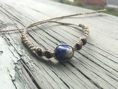A personal favorite from my Etsy shop https://www.etsy.com/listing/465343882/natural-hemp-macrame-bracelet-sodalite