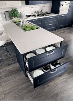 L-shaped kitchen with storage