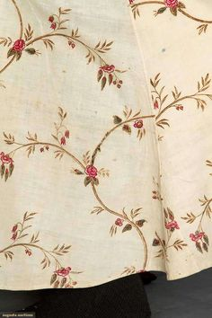 Banyan fabric detail : Block printed cream cotton c1800
