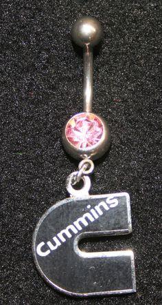Cummins emblem drop belly button navel ring stud tag Jewelry dodge logo ear lady