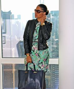 Winter Florals (Ann Taylor Dress; Forever 21 Jacket; Merona Tights; Accessorize Tote; Givenchy Wedge Boot; Thrifted Belt; Loft Sunnies; Hermes Bracelet; Michael Kors Watch; Clair's Earrings)