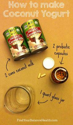 Make your own coconut yogurt #recipe #simple #vegan #paleo #healthy #dairyfree #probiotic #ferment #fermented #breakfast #vegetarian