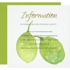 #TROPICAL GREEN WATERCOLOR FOLIAGE LEAF Information Card - #barn #wedding #rustic #invitation #cards #party #ideas