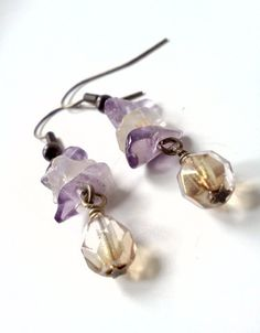 Quartz chip and fire polished Czech glass dangle by PinkCupcakeJC, $11.00