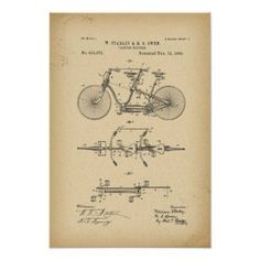 1889 Patent tandem Bicycle Poster - decor gifts diy home & living cyo giftidea #patentartgifts