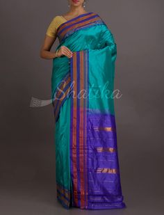 Drishti Sea Blue And Blue Stripe Border Pure #NarayanpetSilkSaree