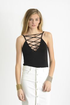Project Social T Olivia Lace Up Cupro Tank Top in BLACK