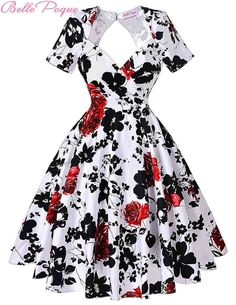 Short Sleeve Floral Print 50s Vintage Dresses Retro Swing Pinup Dance Dress Plus Size Rockabilly Dress BP000028 Alternative Measures - Brides & Bridesmaids - Wedding, Bridal, Prom, Formal Gown