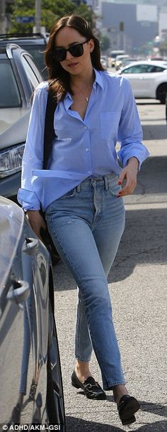 Back-to-back: Johnson traded in her leggings for jeans during her casual cool outing