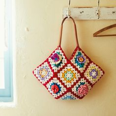 japanese granny square purse bag