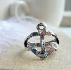 Silver anchor ring- zilver kleurige anker ring - Koop online op www.shoplikesuze.nl