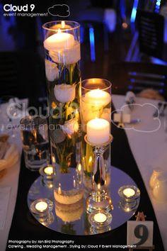 Resultado de imagen para mirror centerpiece FLOATING candles