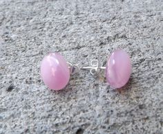 Pink Fused Glass Stud Earrings by PiecesofhomeMosaics on Etsy, $13.99