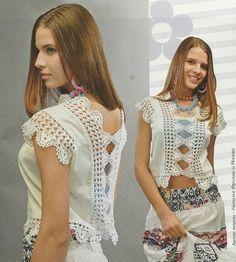 Entre dos :Blusa de tela con finos detalles en crochet   Manualidades