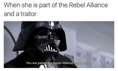 When she is part of the Rebel Alliance and a traitor - iFunny :) Star Wars Jokes, Star Wars Facts, Prequel Memes, Lord, Rebel Alliance, Original Trilogy, Star War 3, Star Wars Collection, Love Stars