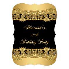 Ornate Classy Gold Black Birthday Party 3